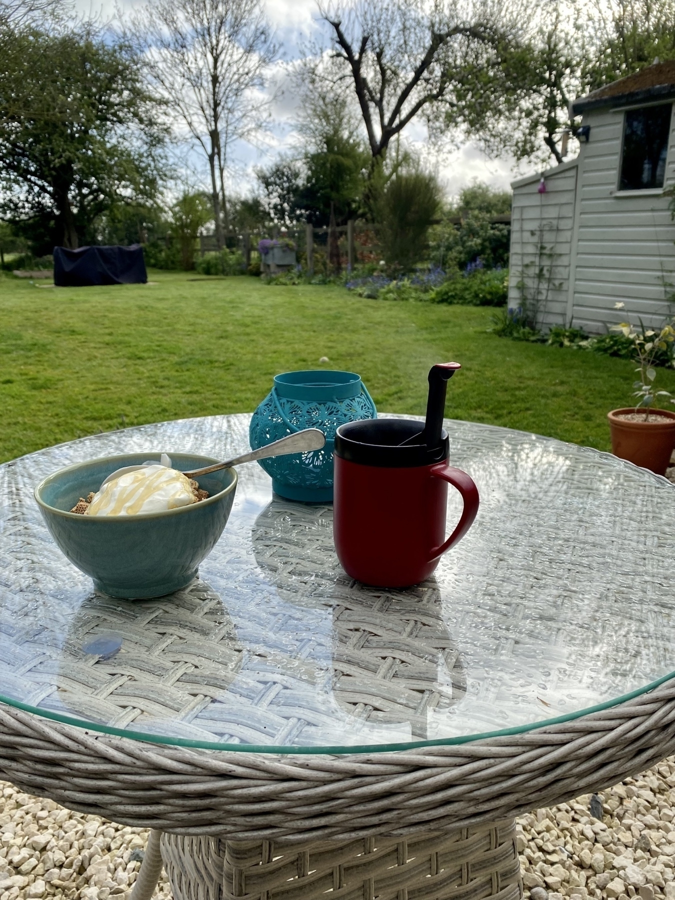 photo of breakfast on a patio